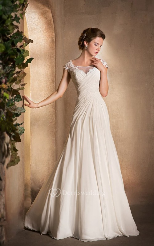 Scoop-Neck Cap-Sleeve Chiffon Dress With Ruching And Appliques