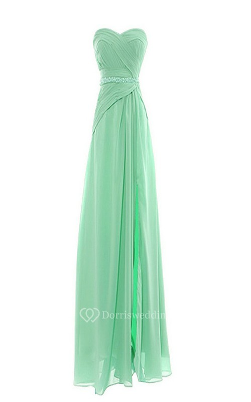 Elegant Sweetheart Chiffon A-line Gown With Beaded Band