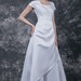 Simple Short Sleeve A-line Gown With Flattering Side-draping Detail