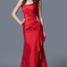 Dramatic Strapless Ruched Bodice A-line Satin Gown with Side Ruffles and Beading Embellishment