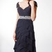 Short-sleeved Ruffled Chiffon A-line Long Formal Dress With Waistband