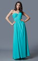 Lovely One-shoulder A-line Long Ruched Chiffon Gown with Beaded Strap