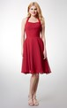 Elegant Halter Style Soft-pleated Layered A-line Chiffon Dress