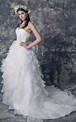 Cute Sweetheart Organza Wedding Dress With Pleats and Beading