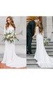 Country Style Vintage Modest Bohemian Lace Chiffon Wedding Gown With Long Sleeves