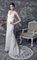 Sultry Sleeveless V-neck Slim-line Lace and Charmeuse Wedding Gown