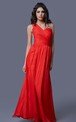 Romantic One-shoulder Long Net Gown with Illusion Style and Ruching