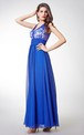 Stylish Sleeveless Long Chiffon Dress with Lace-embellished Bodice and Illusion Back