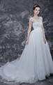 Delicate Beaded and Cap-sleeved Bodice With Layered English Net Wedding Ball Gown