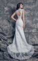 Sophisticated Deep Lace Bridal Gown with Keyhole Style