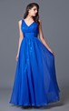 Noble Sleeveless V-neck Long Chiffon Dress with Sequined Underlay and Waistband