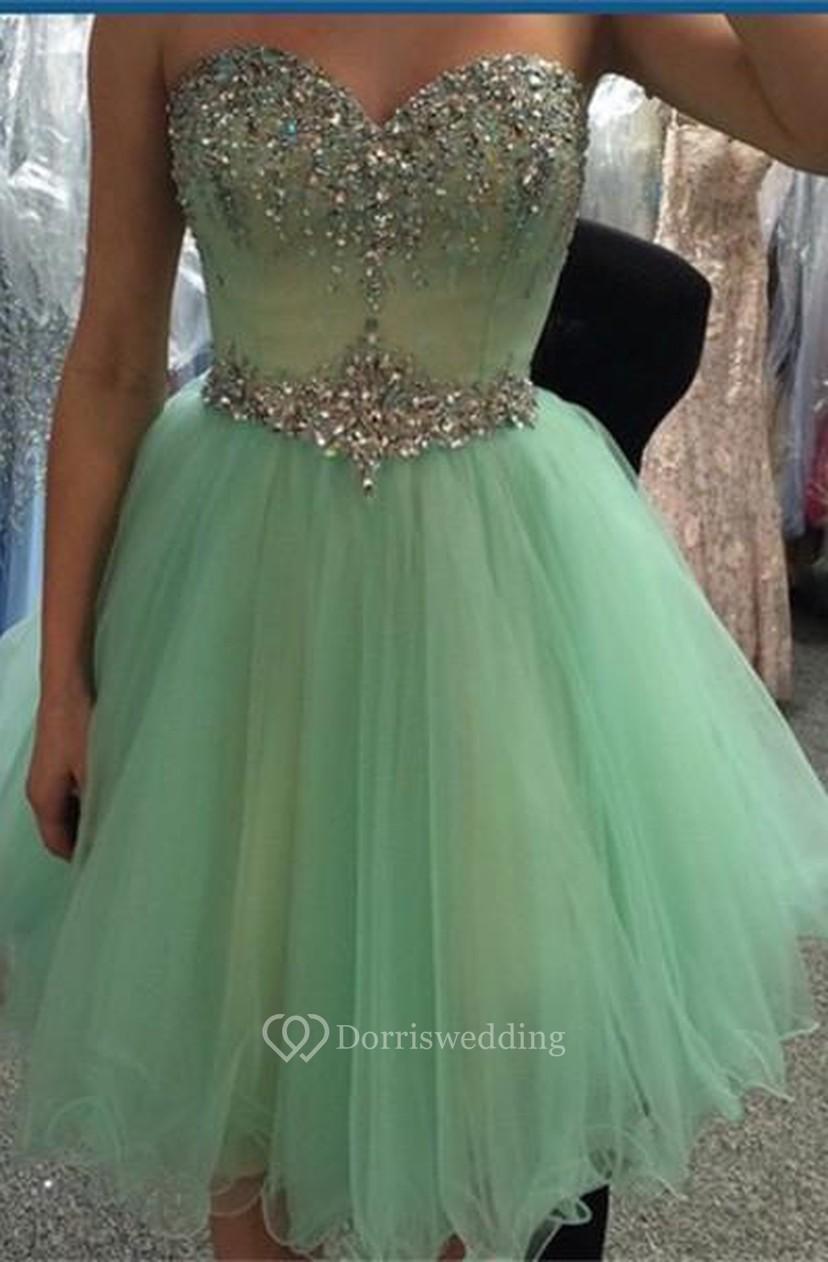 e5516864a14 Newest Crystals Tulle Short Homecoming Dress 2018 Sweetheart Sleeveless -  Dorris Wedding