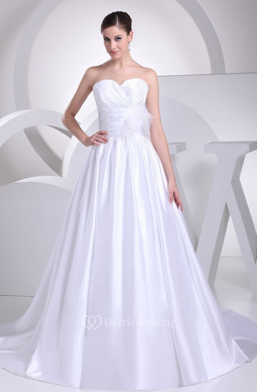 Sweetheart Ruched A-Line Ball Gown With Pleats and Low-V Back ...