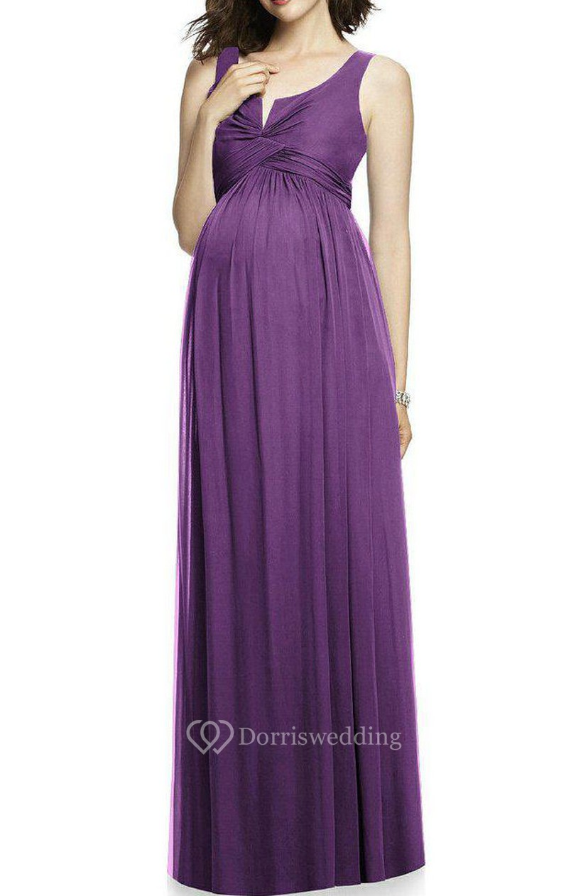 Maternity Ruched Long Bridesmaid Dress - Dorris Wedding
