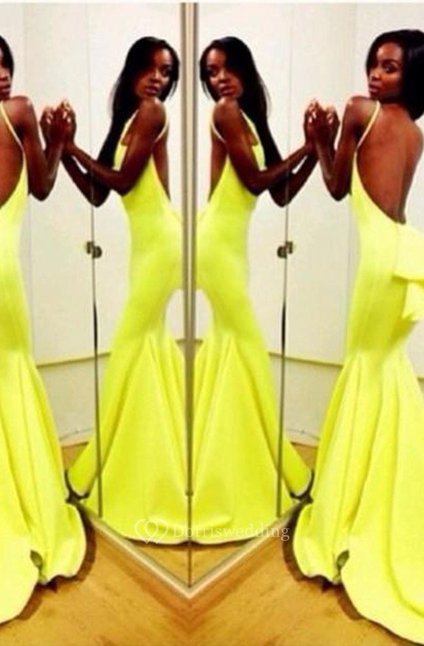 c905f108cdb Sexy Backless Yellow Mermaid Prom Dresses 2018 Sleeveless Spaghetti Straps  Evening Gowns - Dorris Wedding