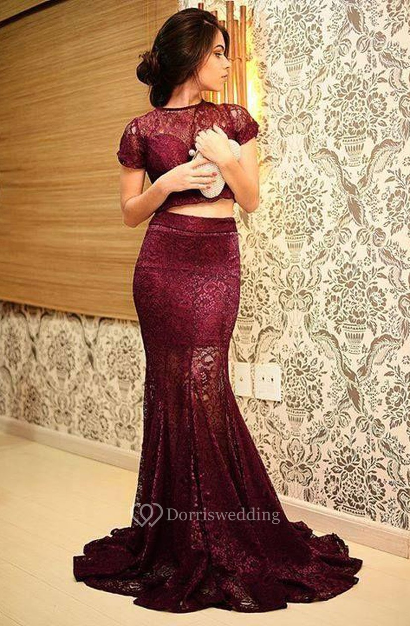 1d014c71b38 Sexy Mermaid Two Piece Lace Prom Dress 2018 Short Sleeve - Dorris Wedding