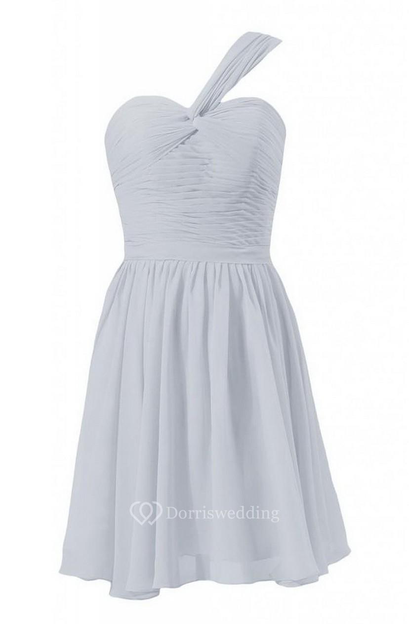 c1559e5d528 One-shoulder Mini Chiffon Dress With Ruched Bodice - Dorris Wedding