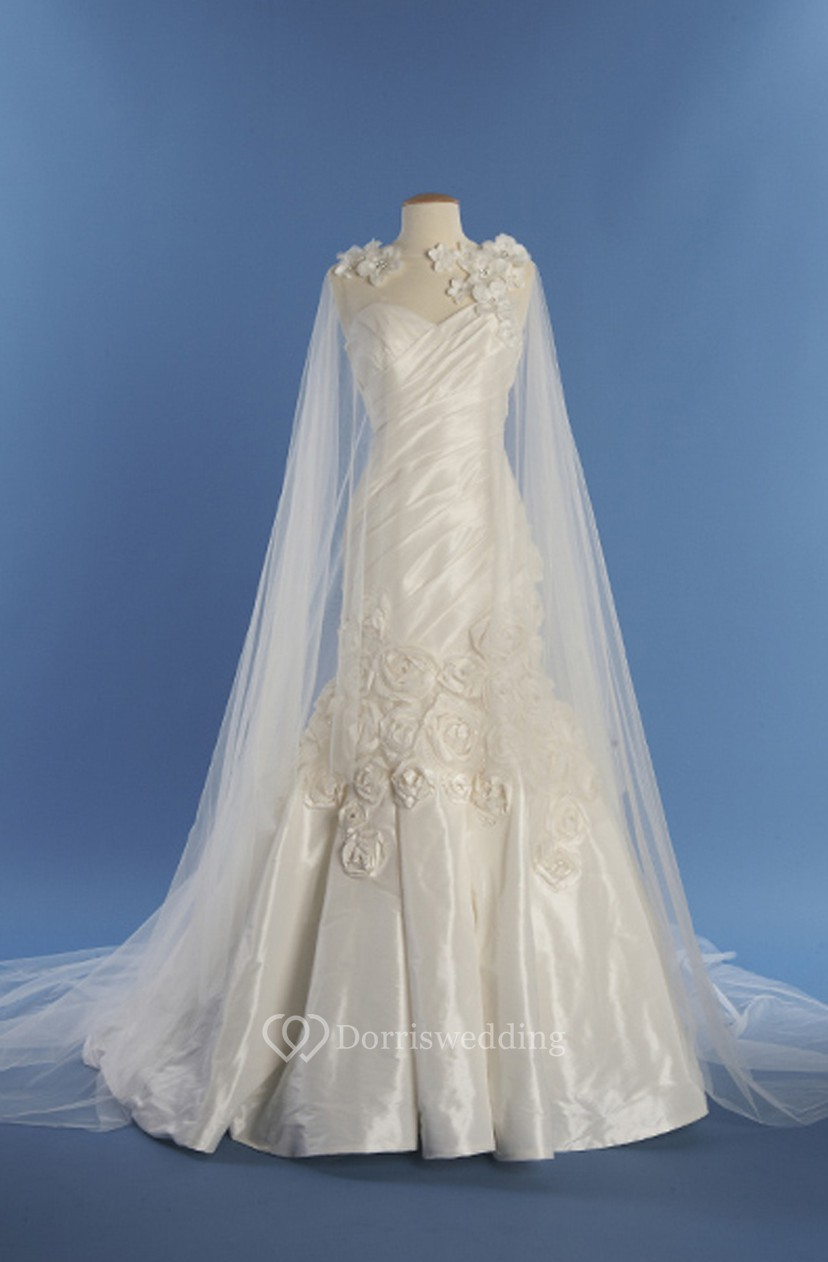 Vintage Satin Gown With Flowers And Watteau - Dorris Wedding