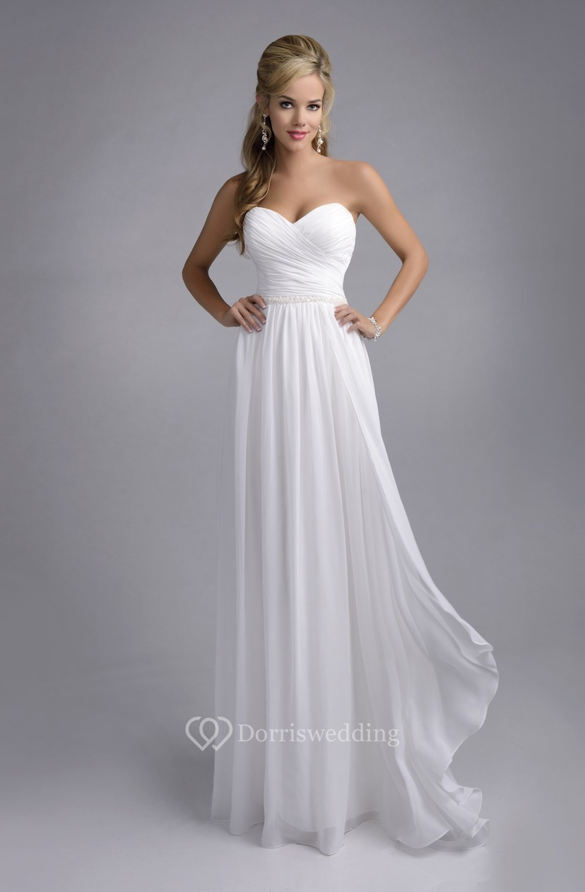 Crisscross Sweetheart Chiffon Wedding Dress With Ruching And Pleats ...