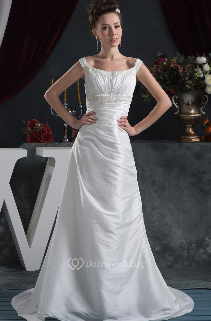 93f417090b Strapped Taffeta A-Line Ruched Dress With Crystal Detailing - Dorris Wedding