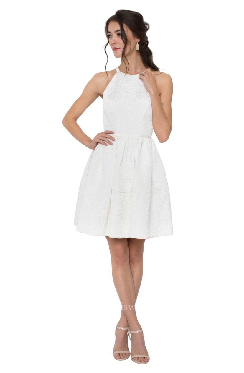 0f8eb38b51 A-Line Jewel Sleeveless Maxi Little White Dress With Zipper Back MK 300860