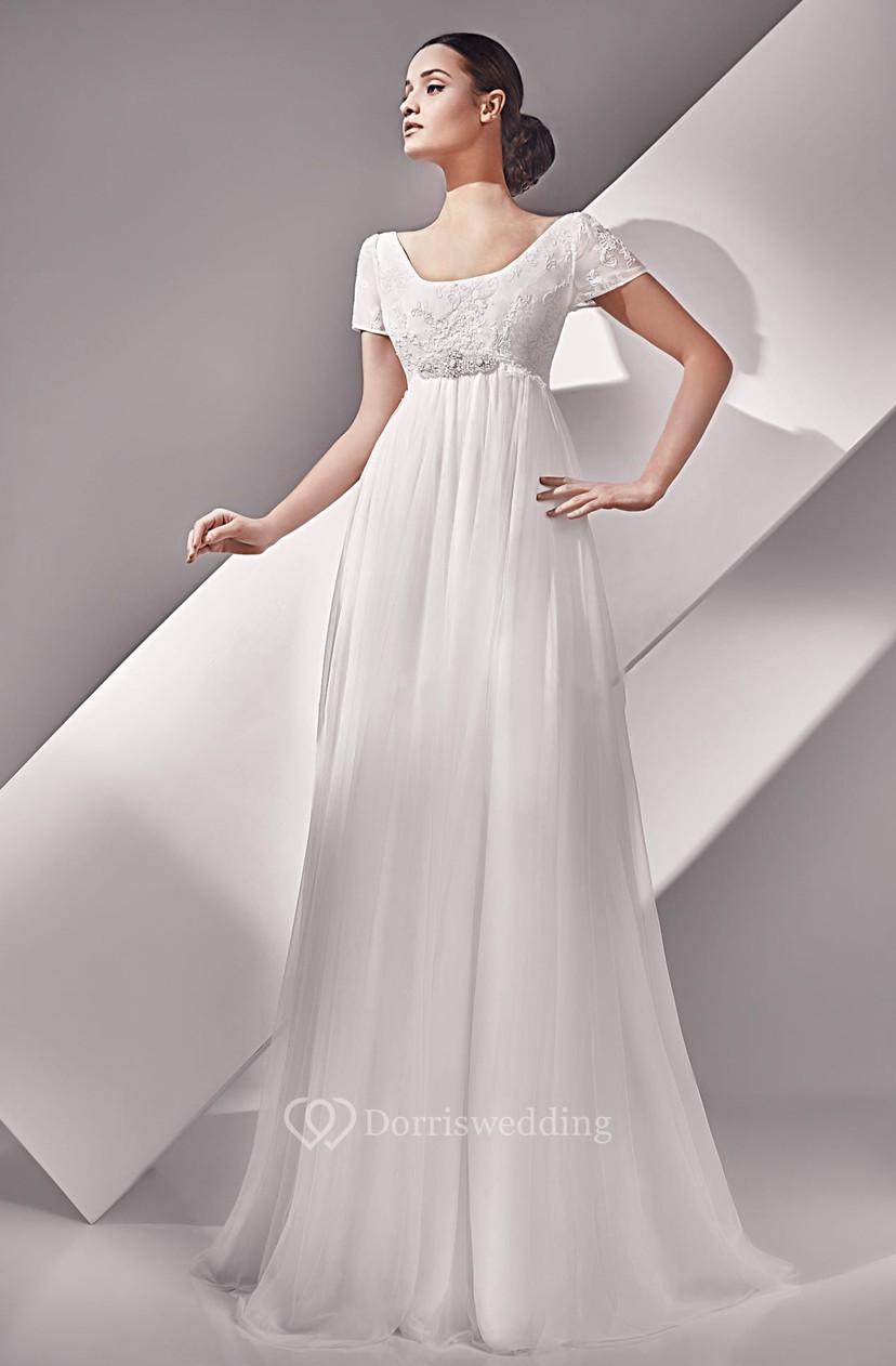 5003396838b Empire Short Sleeve Long Scoop Neckline Button Back Dress With Crystal  Detailing - Dorris Wedding
