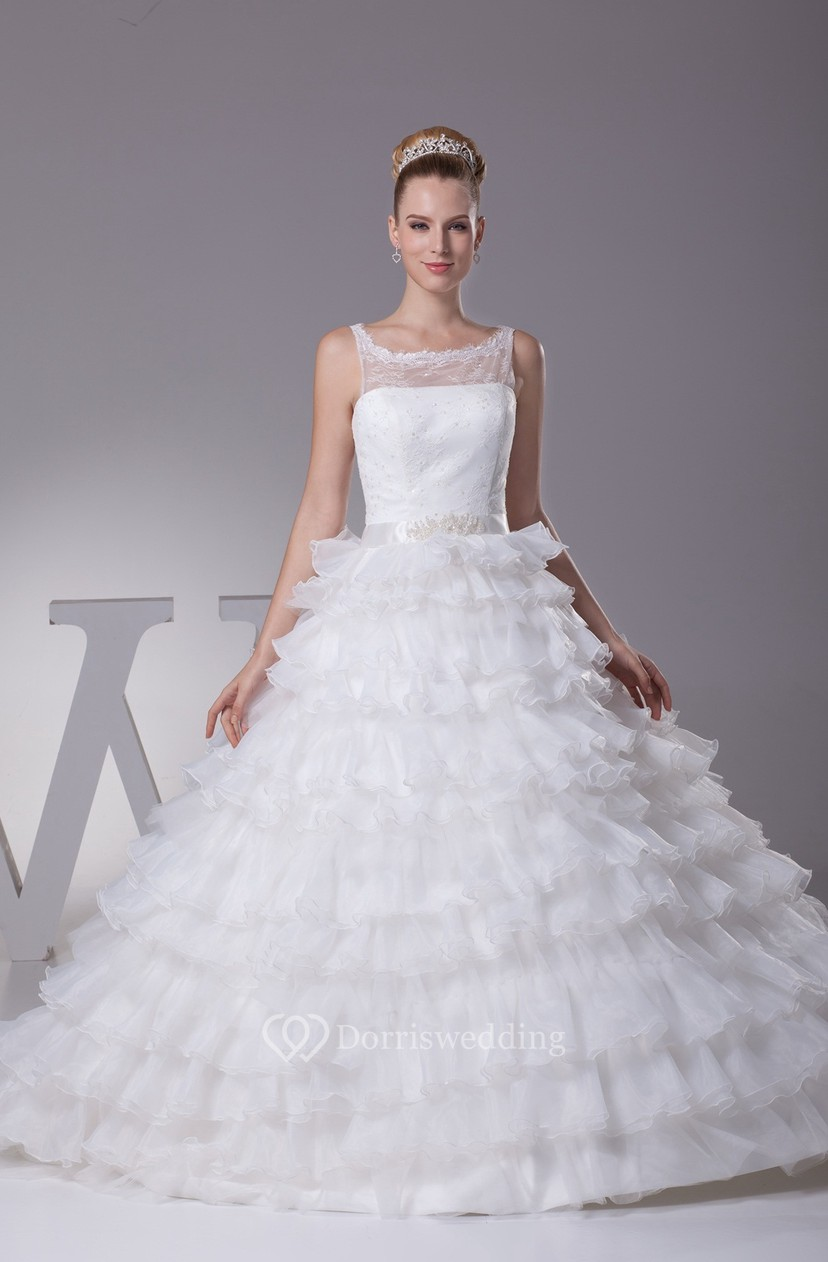 Tiered Ruffled A-Line Ball-Gown With Illusion Neckline - Dorris Wedding