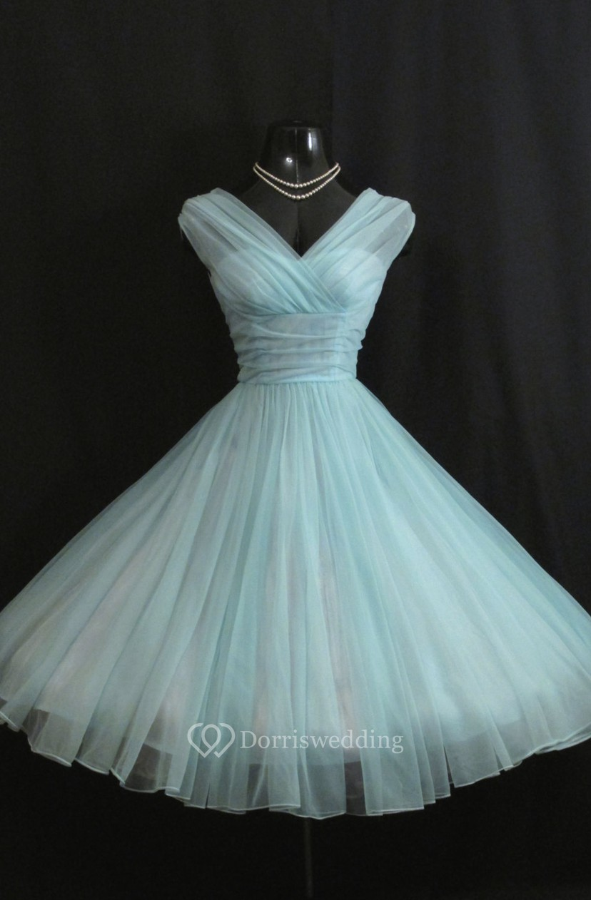 Charming V Neck Empire Chiffon Ball Gown With Bow - Dorris Wedding