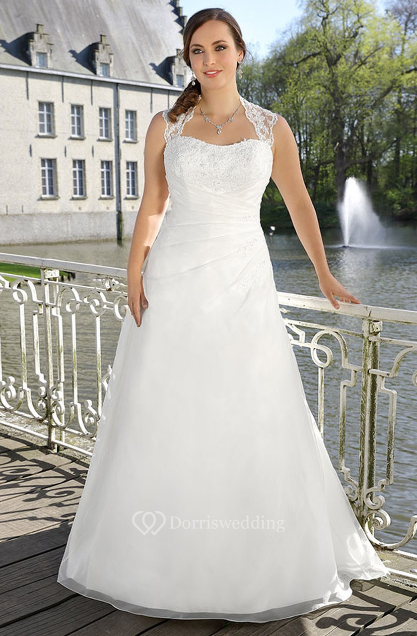 A-Line Floor-Length Queen Anne Sleeveless Satin Illusion Lace Dress ...