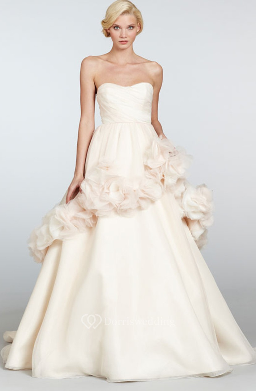 Captivating Strapless Draped Bodice Organza Ball Gown With Floral ...