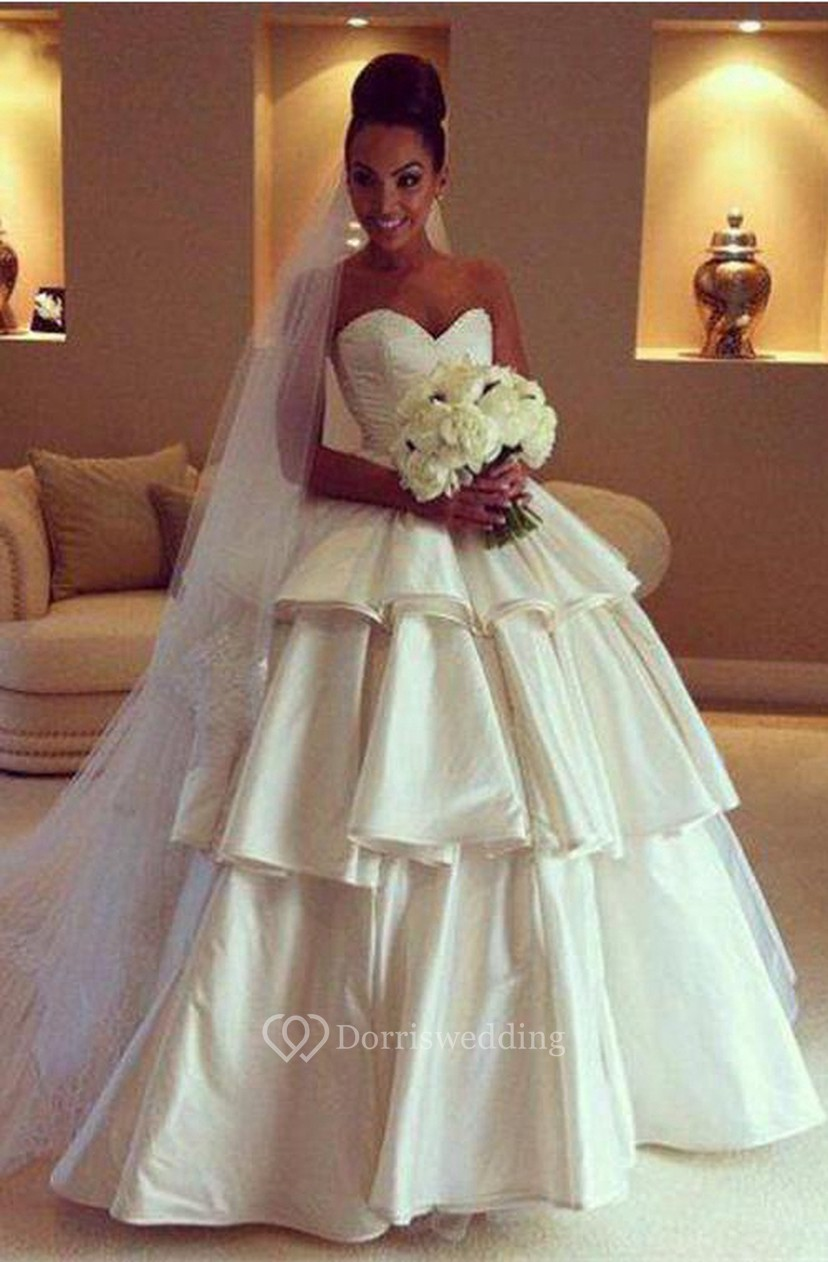 Gorgeous Sweetheart Layered 2018 Wedding Dresses Ball Gown Floor