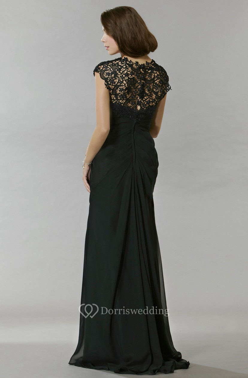 62276efaf0a Sheath Long Lace Jewel Cap-Sleeve Chiffon Prom Dress With Beading And  Draping MK 300874