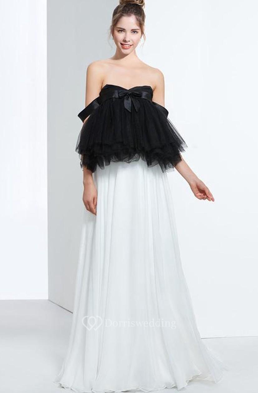 f1e06ea6a6ba A-Line Sweetheart Pleats Bowknot Floor-Length Prom Dress - Dorris Wedding