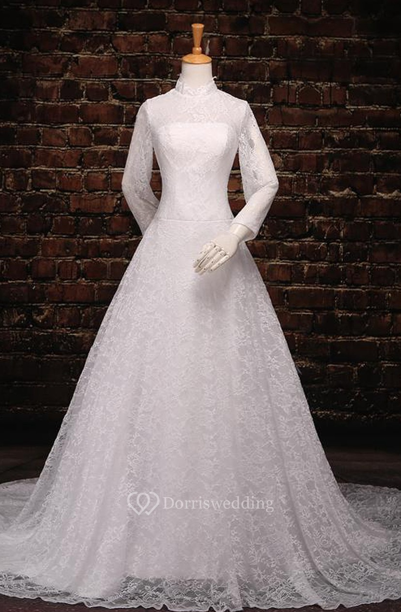 915472598e80 A-Line Tea-Length Off-The-Shoulder One-Shoulder Long Sleeve Tulle Lace  Sequins Satin Dress - Dorris Wedding