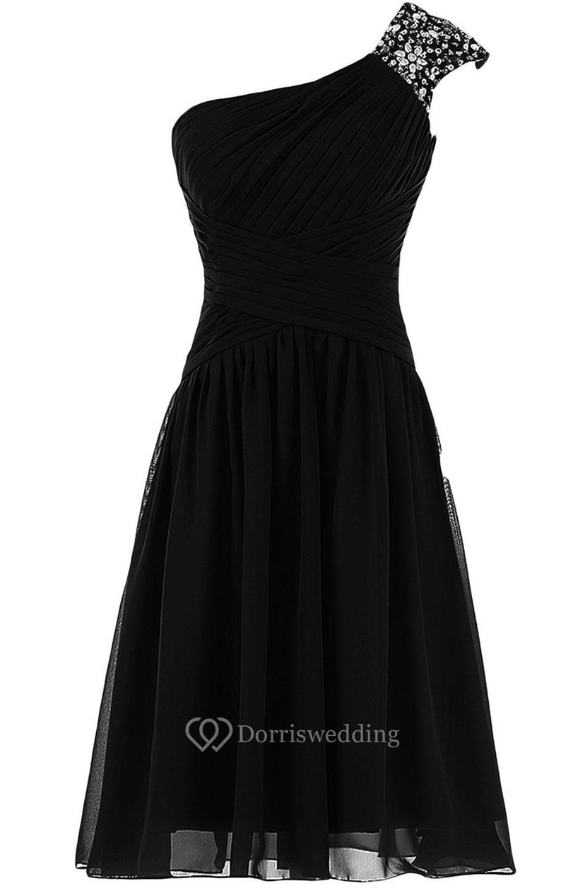 6c297dd61f Classic One Shoulder Ruched Chiffon Short Dress With Sequined Short Sleeve  - Dorris Wedding