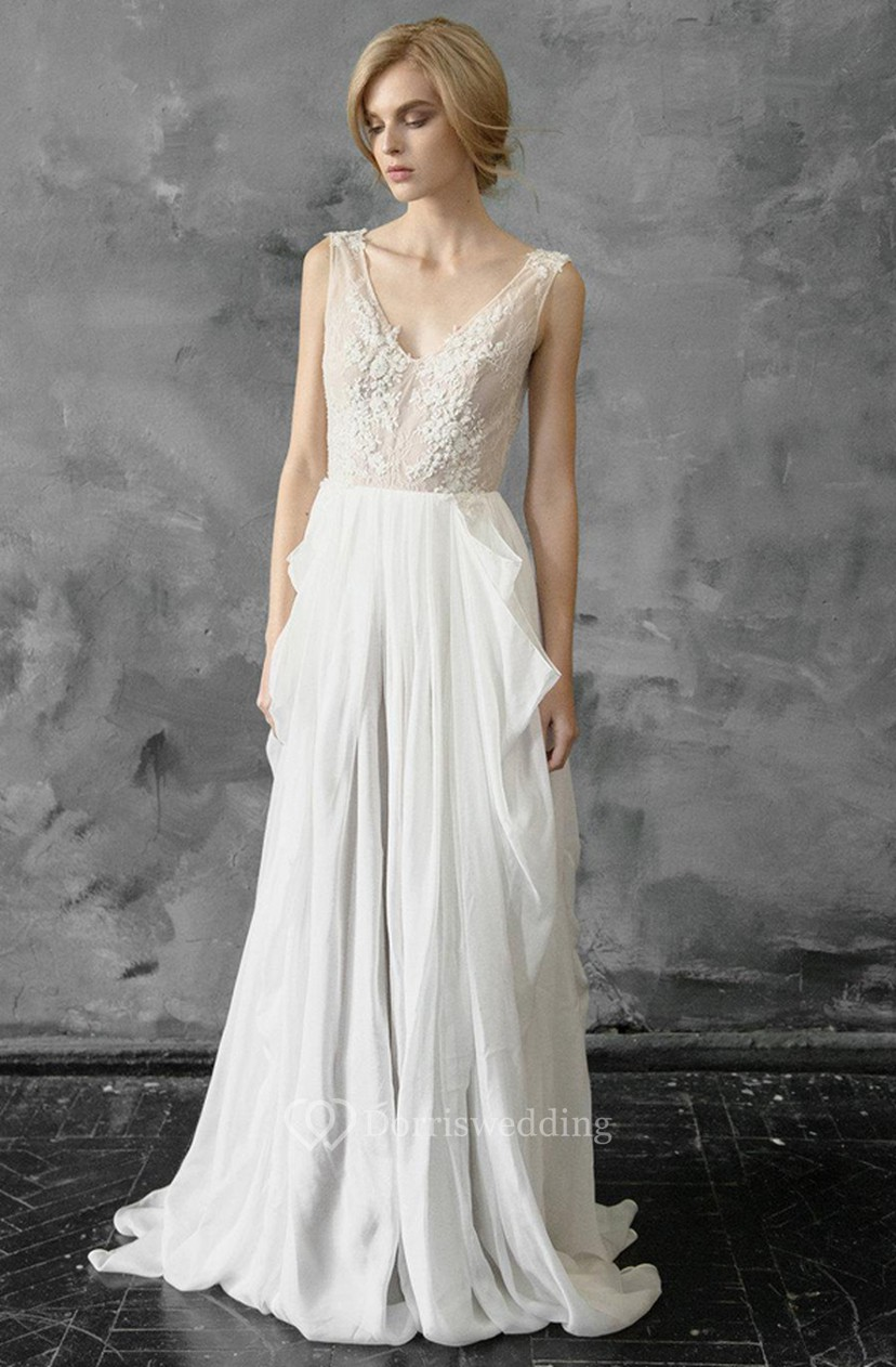 Plunged Sleeveless Chiffon Pick Up Wedding Dress With Appliques ...