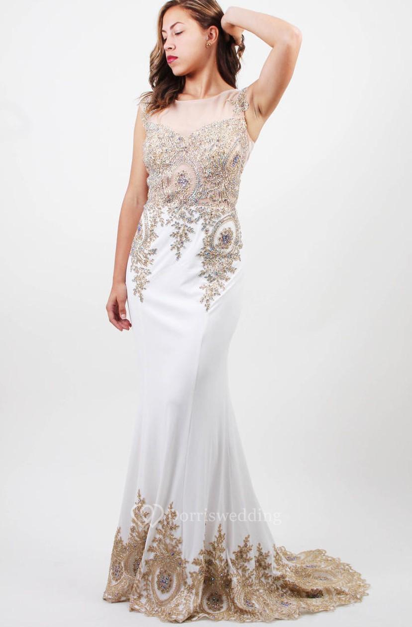 b84d147a85 Sheath Bateau Sleeveless Jersey Illusion Dress With Beading - Dorris Wedding