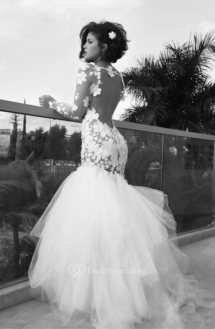 3d6a085e92 Delicate Long Sleeve Tulle Mermaid Wedding Dress With Appliques - Dorris  Wedding