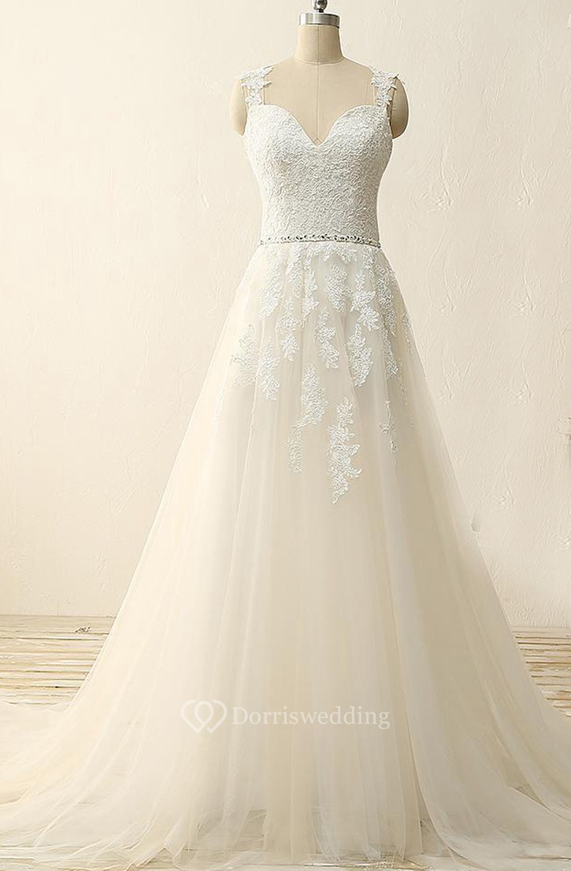 4c40bad69044 A-Line Tea-Length Straps Sweetheart V-Neck Sleeveless Beading Appliques  Sweep Train Straps Tulle Lace Sequins Satin Dress - Dorris Wedding