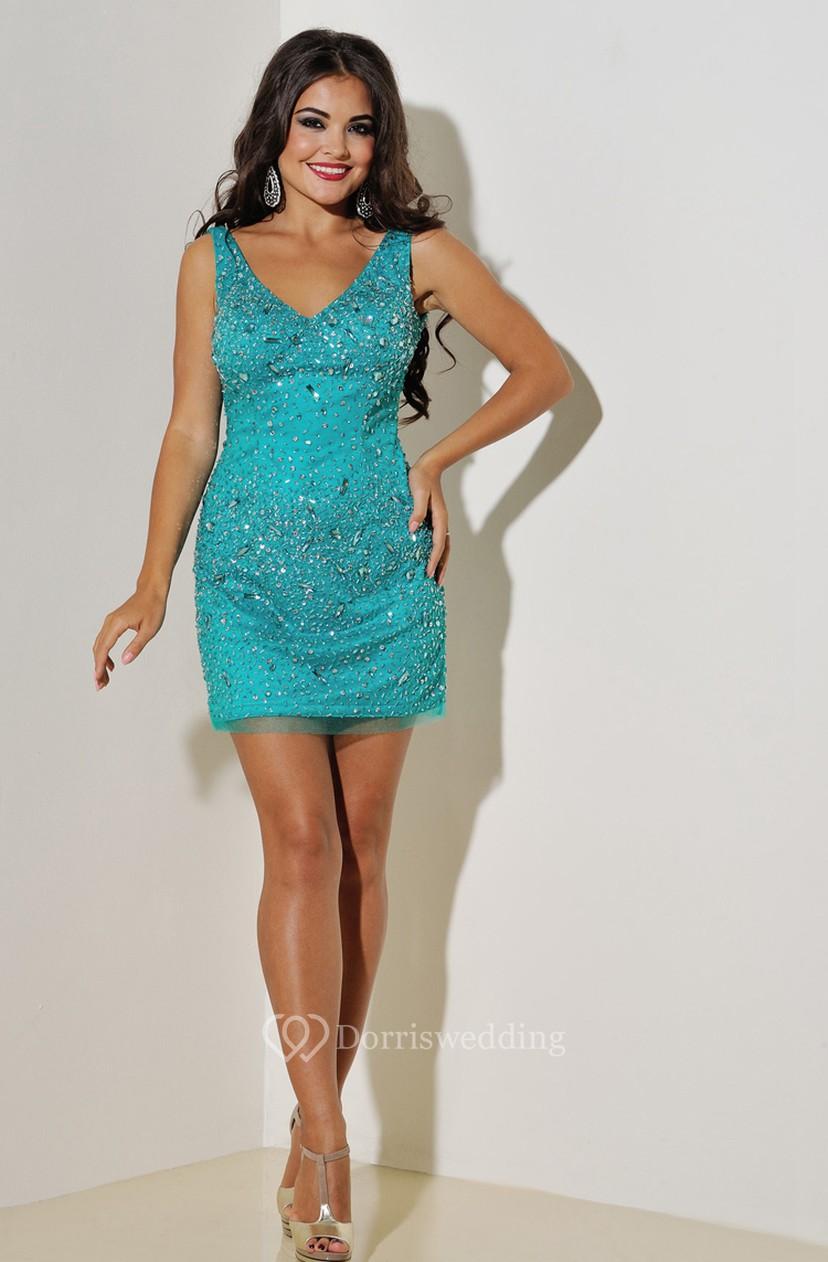 Sheath Short V-Neck Sleeveless Tulle Beading Zipper Dress - Dorris ...