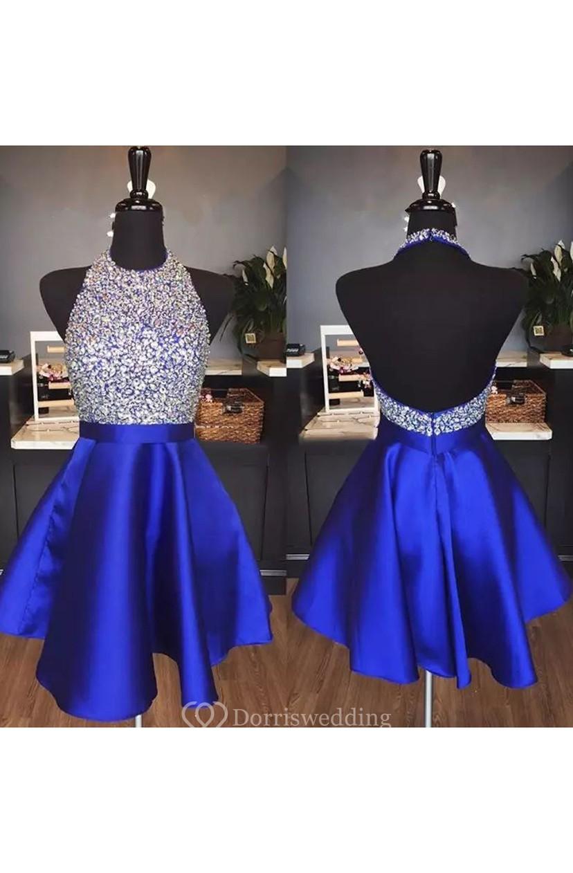 57108a3868 A-line Sleeveless Satin Halter Backless Short Mini Homecoming Dress -  Dorris Wedding