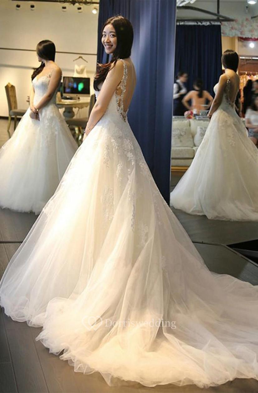 Elegant V Neck Backless Wedding Dresses With Appliques - Dorris Wedding