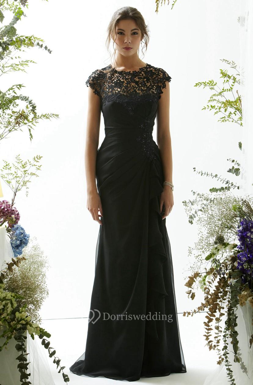 36e89cfea05 Sheath Long Lace Jewel Cap-Sleeve Chiffon Prom Dress With Beading And  Draping - Dorris Wedding