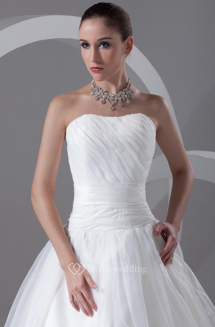 Stylish Strapless Ball Gown Sleeveless Satin Organza Most Wedding ...