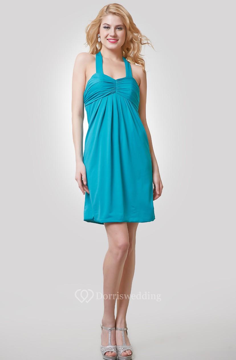 5893f16337 A-Line Short Chiffon Dress With Ruching and Halter - Dorris Wedding