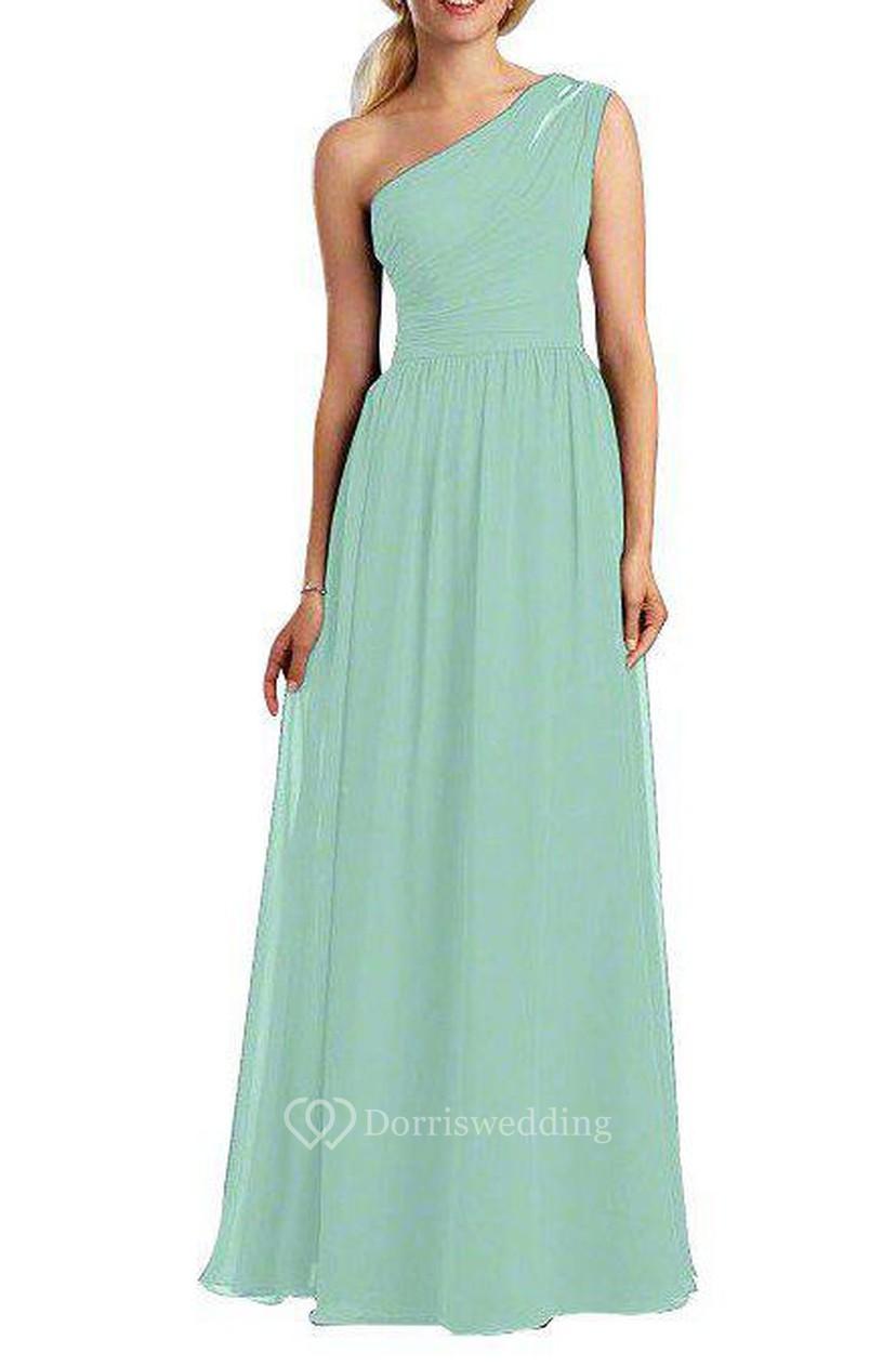 9f04e53cf09 One Shoulder Ruched Chiffon Long Dress - Dorris Wedding