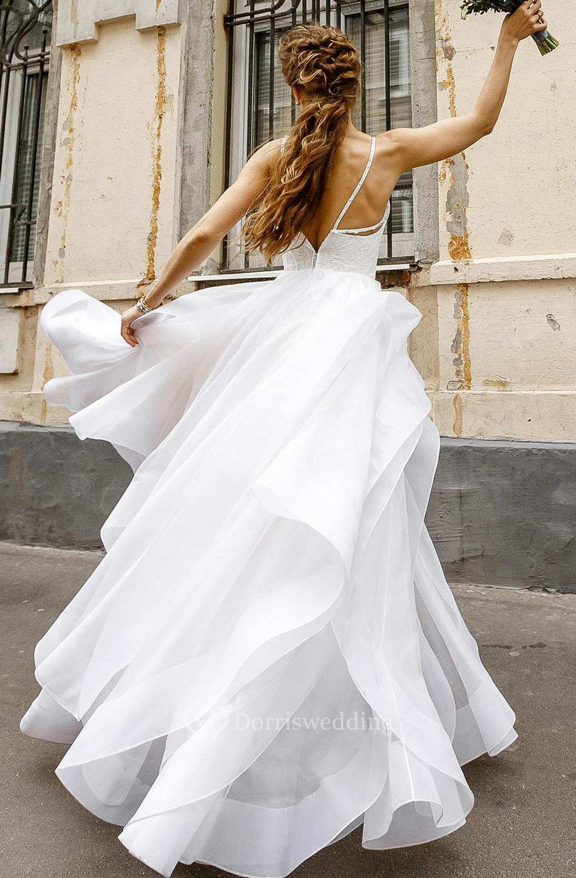 Flowy Spaghetti Layered Wedding Dress With Lace Top