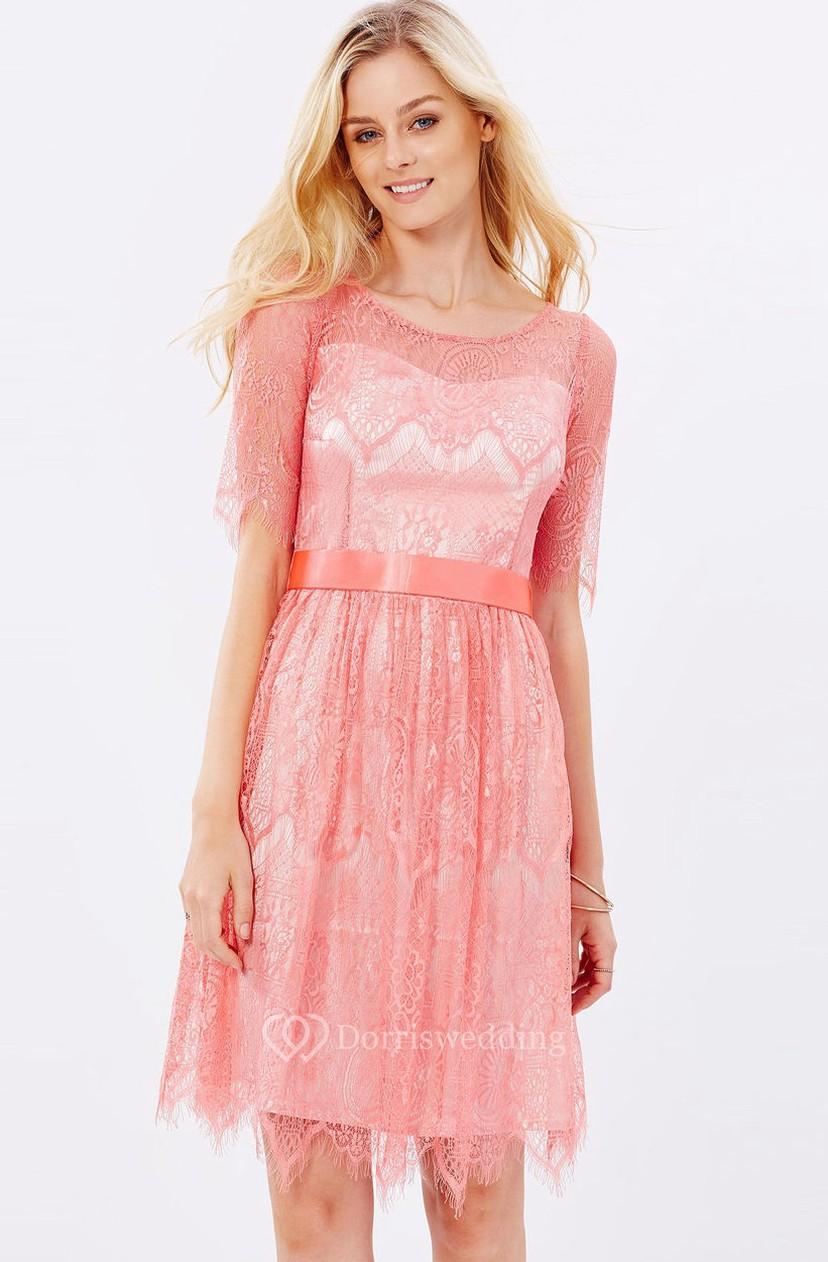 Short Half Sleeve Ribboned Scoop Neck Lace Bridesmaid Dress - Dorris ...