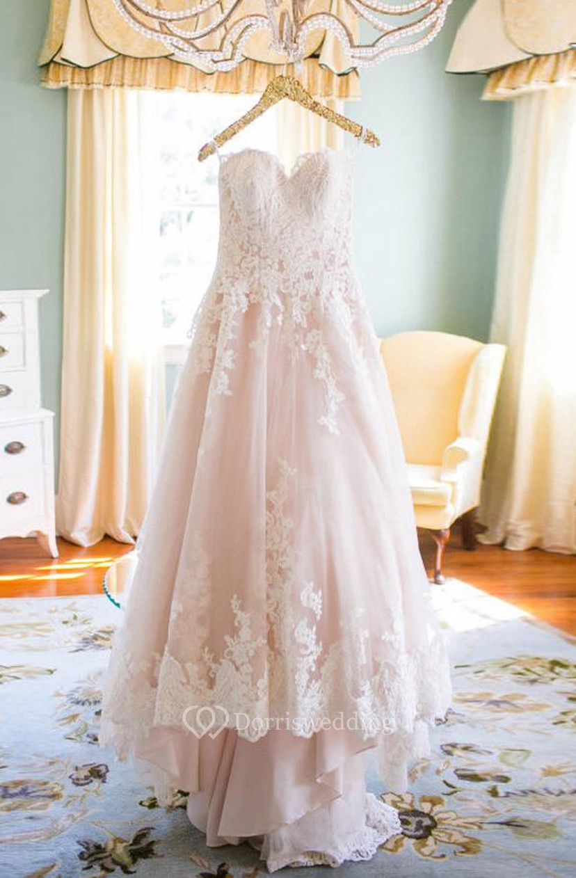 Blush Wedding Dress With White Lace