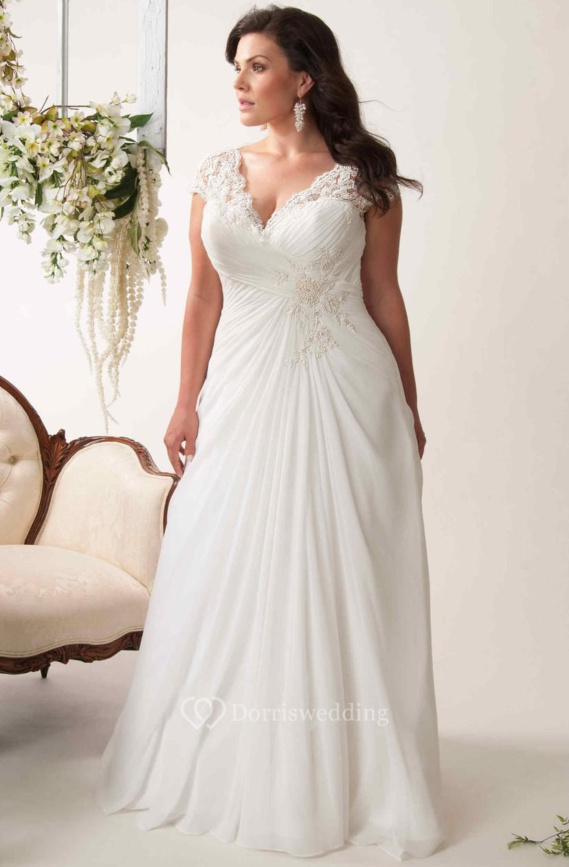 Sheath V-Neck Appliqued Cap-Sleeve Chiffon Plus Size Wedding Dress With  Ruching And Keyhole